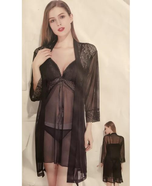 Комплект халат и ночная рубашечка со стрингами